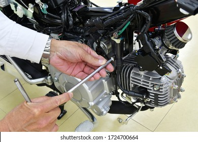 Japanese motorcycle under inspection and maintenance