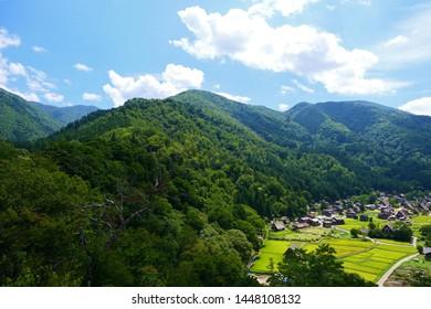Japanese mountain village in harvest season.Shirakawa Gifu Japan.Late August.
