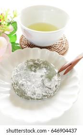 Japanese Mugwort, Yomogi Mochi and green tea
