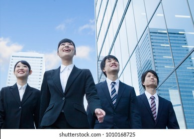 Japanese new society who walk the office