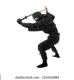 Japanese Ninja holding a katana sword.