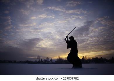 Japanese ninja winter portrait