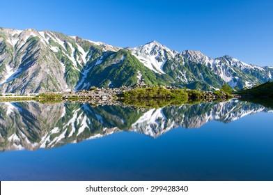 Japanese Northern Alps Reflection on Happoike Pond, Hakuba Valley