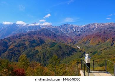 Japanese Northern Alps.Hakuba Mountains over there.Chubu-Sangaku National Park.Nagano Japan.Late October.
