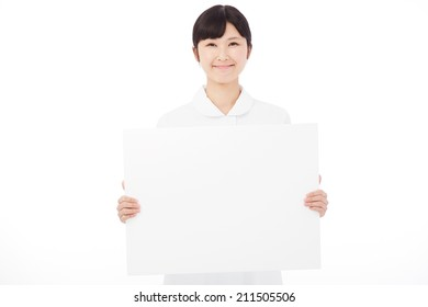 Japanese nurse with Bulletin Board