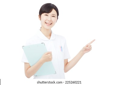 Japanese nurse pointing side