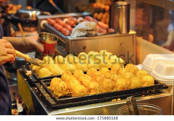 Japanese Octopus Balls at Hong Kong Street Food Stall