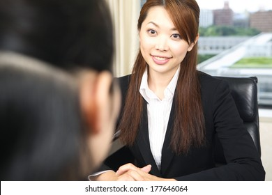 Japanese Office Lady in the meeting