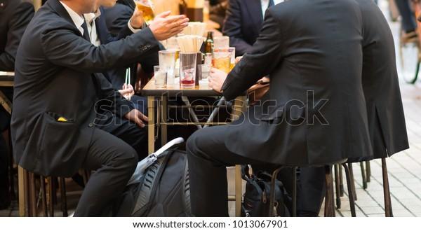 Japanese office man in Japan bar(Izakaya).