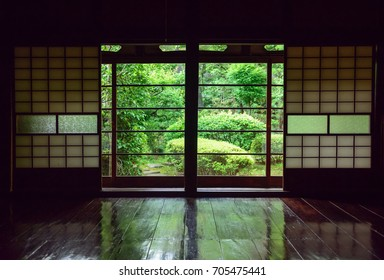Japanese old house. Indoor. Traditional Japanese houses.