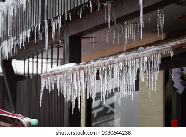 Japanese old houses and icicles