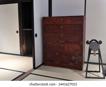 Japanese old wooden closet and Japanese-style room