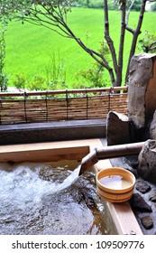 Japanese open air hot spa onsen