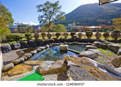 Japanese open air hot spring - onsen in Shiobara onsen village.