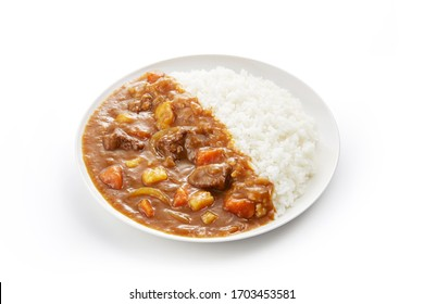 Japanese ordinary curry rice  (Potatoes, carrots, onions and beef in spicy yellow curry served with steamed rice.)