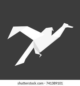 Japanese origami bird made of white paper. illustration on dark background