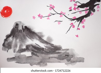 Japanese painting with sun, hill and Sakura branches on white background