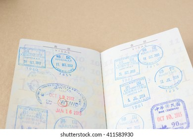 Japanese passport and stamps