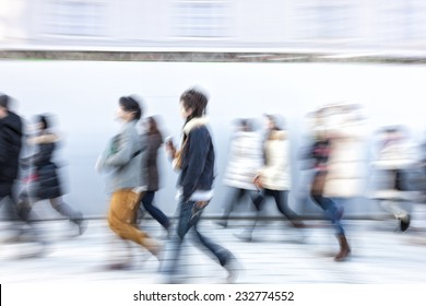 Japanese people walking in the city