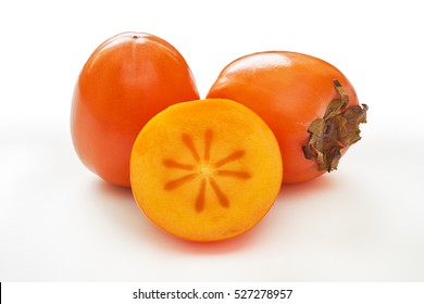 Japanese persimmon (Diospyros kaki) isolated on white background