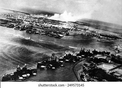 Japanese photograph taken during the attack on Pearl Harbor, Dec. 7, 1941. In the distance, the smoke rises from Hickam Field.