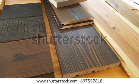 Japanese Pine Wood Furniture Floor Finishing Interior Stock Photo