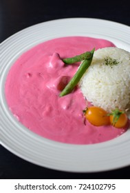 Japanese Pink Curry (made from beetroot) with rice , Signature menu from Tottori Japan