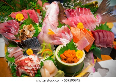 Japanese plate of sashimi with raw seafood
