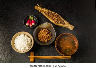 Japanese popular soybean fermented food (natto with straw)