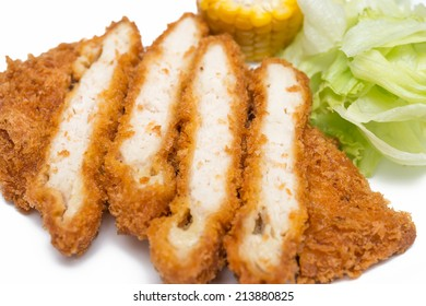 Japanese pork cutlet Tonkatsu isolated on white background