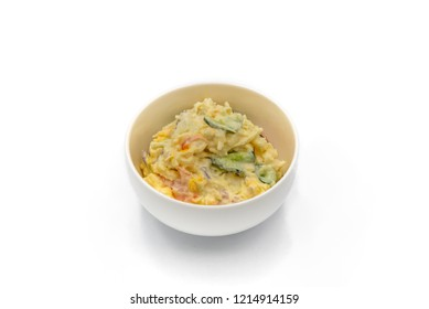 Japanese Potato Salad With Cucumbers, Carrots, and Onion isolated on the white