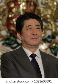 Japanese prime minister Shinzo Abe smiles during his visit to Bulgarian capital Sofia , Sunday, Jan. 14, 2018.