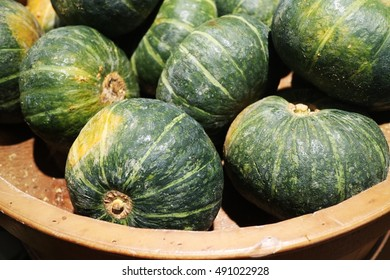 Japanese pumpkin in basket