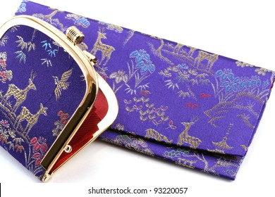 Japanese purses on white background