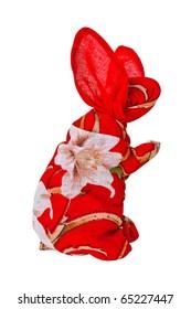 Japanese Rabbit Handkerchief Doll Isolated on White Background