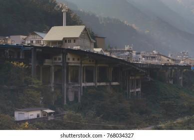 Japanese railway station in the mountains - Unazuki Kurobe Onsen
