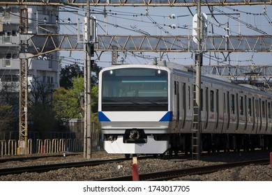 Japanese railway train going on railway.JoBan Line