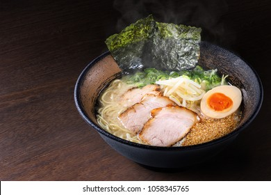 japanese ramen noodles on wooden table