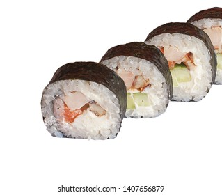 Japanese raw classic sushi rolls with rice fish cheese. isolated.
