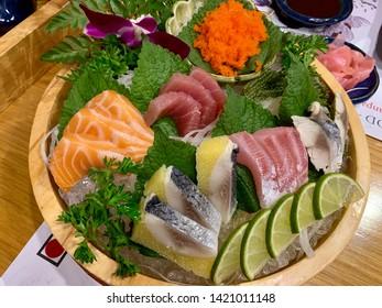 Japanese raw fish sashimi combo dish