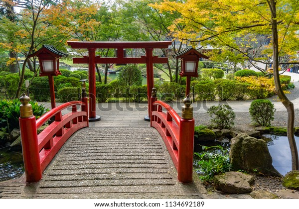 Japanese Red Wooden Torii Garden Background Stock Photo Edit Now