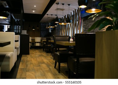 Japanese restaurant, the beautiful interior of the restaurant