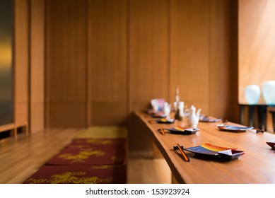 Japanese restaurant with earth tone wooden style