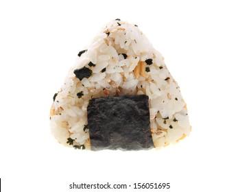 Japanese rice ball (onigiri) isolated on white background.
