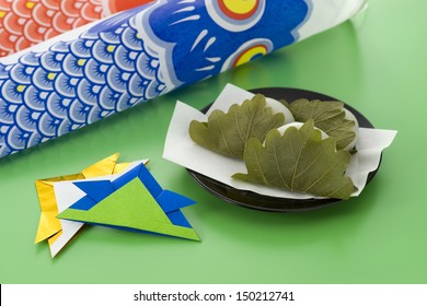 japanese rice cake wrapped in oak leaves for Children's day