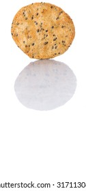 Japanese rice crackers, locally known as senbei over white background