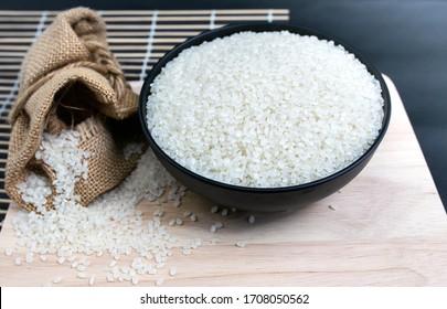 Japanese rice. Rice used for sushi. Short Grain Sushi Koshihikari Rice.