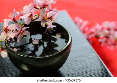 Japanese rice wine sake with cherry blossom