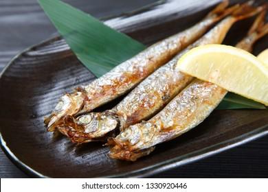 Japanese roasted shishamo fish
