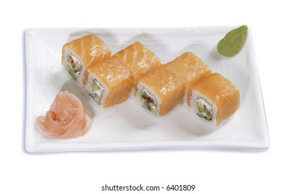 japanese rolls on the plate,isolated
